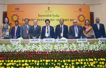 Qatar Airways Group Chief Executive, His Excellency Mr. Akbar Al Baker (fourth from left) pictured during a panel discussion at the Incredible India Tourism Investors' Summit 2016, alongside Mr. Vinod Zutshi, Secretary, Ministry of Tourism and Mr. Ramesh Abhishek, Secretary, Department of Industrial Policy and Promotion – Government of India.