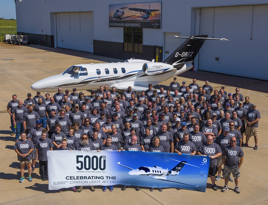 Cessna delivers its 5,000th Citation light business jet to Helitrip Charter LLP to be operated by Catreus Ltd.
