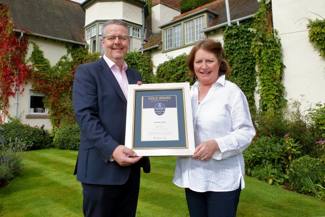 VisitScotland Regional Director Doug Wilson with Sheila Robson from Fauhope Country House B&B in Gattonside, Melrose