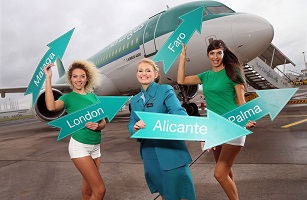 Aer Lingus cabin crew June Courtenage joins models Gemma McCorry and Niamh Cunningham as they brave the autumn chill to announce the launch of Aer Lingus' Summer 2017 Schedule. In addition to London Heathrow, Northern Ireland holidaymakers can fly direct from Belfast City Airport to their favourite sun destinations including Alicante, Malaga, Faro and Palma, from £40.99, for travel from the end of March through to the end of October 2017.