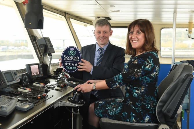 Annique Armstrong, VisitScotland, and Hamish Munro, Clyde Cruises