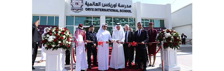 A ribbon cutting took place to open Oryx International School led by His Excellency Dr. Mohammed Al Hammadi, Minister of Education and Higher Education (centre left) and Qatar Airways Group Chief Executive His Excellency, Mr. Akbar Al Baker (centre right), alongside (from left) Brigadier Ibrahim Abdulrahman Al-Muftah; Chairman of Orbital Education, Mr. Kevin McNeany; British Ambassador to the State of Qatar, His Excellency Mr. Ajay Sharma.