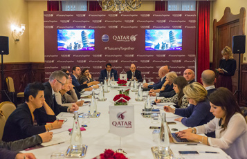 Qatar Airways Group Chief Executive, His Excellency Mr. Akbar Al Baker with His Excellency Abdulaziz Bin Ahmed Al Malki, Qatar's Ambassador to Italy, addressing the national and regional media in Florence, Italy.