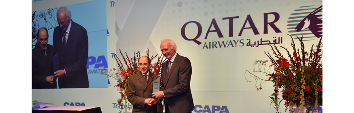 Qatar Airways Group Chief Executive, H.E. Mr. Al Baker, was presented with the Airline of the Year award at the recent CAPA Aviation Awards for Excellence, receiving the honour in person from CAPA Executive Chairman Peter Harbison during a gala dinner at the Okura Hotel Amsterdam