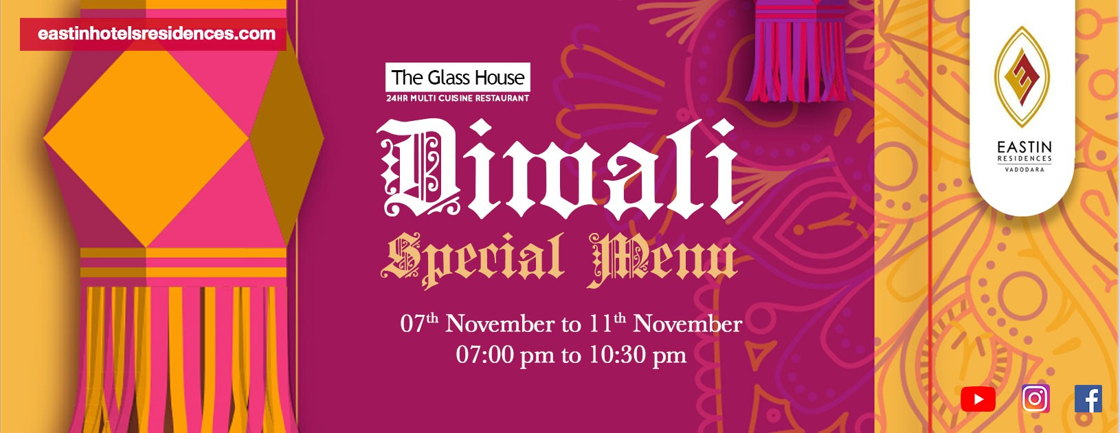 Eastin Residences Vadodara: Enjoy the vibrancy of the festive season with Indian Fusion Special menu at The Glass House – 24 Hour Multi Cuisine Restaurant