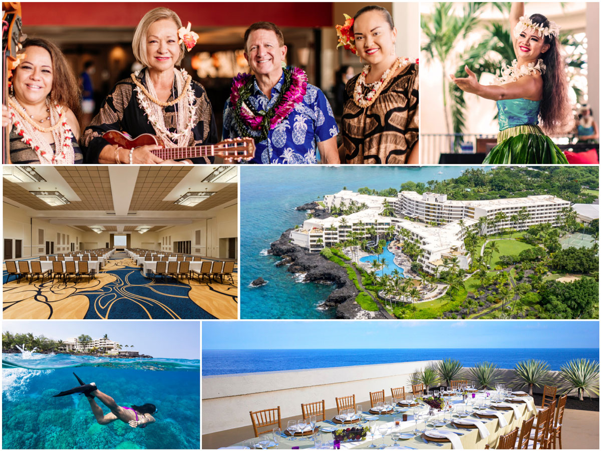 Scenes from the Outrigger Kona Resort and Spa ceremony, 25 August.
